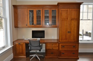1/4 Cut Oak Desk w/side Cabinet